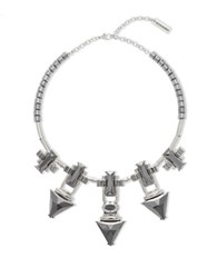 Steve Madden Faceted Hematite Stone Station Necklace Silver