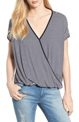 Bobeau Faux Wrap Knit Top Navy Ivory A S
