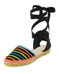 Sophia Webster Juana Ribbon Stripe Espadrille Black
