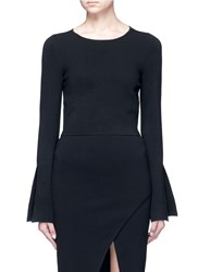Nicholas Flared Cuff Cropped Milano Knit Sweater Black