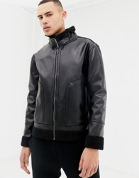 D Struct Faux Sheepskin Jacket Black
