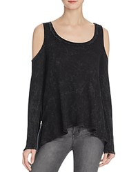 Vintage Havana Contrast Zip Cold Shoulder Tee Black