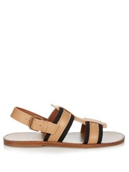 Tomas Maier Contrast Leather And Canvas Sandals Tan Multi