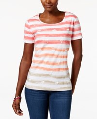 Karen Scott Striped Tropical Graphic Tee Only At Macy's Pink Palm Tree