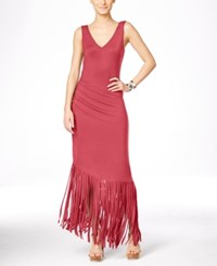 Inc International Concepts Petite Asymmetrical Fringe Hem Maxi Dress Only At Macy's Polished Coral