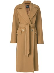 Erika Cavallini Double Breasted Coat Wool Polyamide Other Fibers Viscose Nude Neutrals