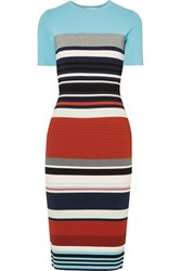 Diane Von Furstenberg Striped Stretch Jersey Midi Dress Blue