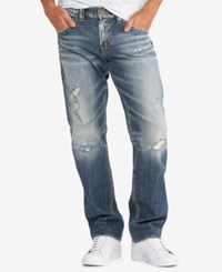 Silver Jeans Co. Men's Hunter Loose Fit Tapered Leg Stretch Destroyed Indigo