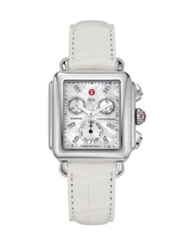 Michele Deco Diamond Mother Of Pearl Stainless Steel And Alligator Chronograph Strap Watch White