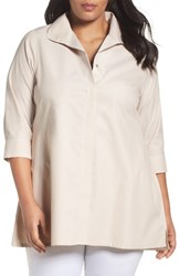 Foxcroft Plus Size Women's Skye Non Iron Tunic Shirt Sand