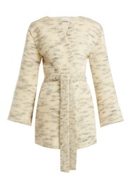 Raey Belted Mohair Blend Cardigan Ivory