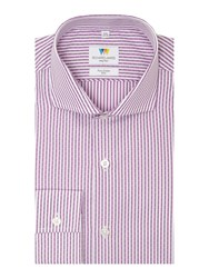Richard James Men's Mayfair Dash Dobby Stripe Slim Fit Shirt Lilac