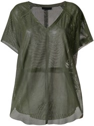 Drome Perforated V Neck Blouse Green
