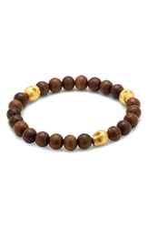 Cufflinks Inc. Skull Bead Bracelet Brown