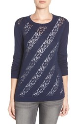 Women's Halogen Lace Stitch Crewneck Sweater Navy Peacoat