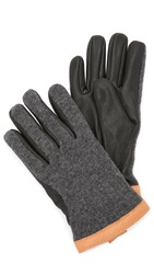Hestra Deerskin Wool Tricot Gloves Grey Black