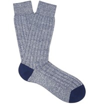 Pantherella Hamada Melange Ribbed Knit Socks Navy