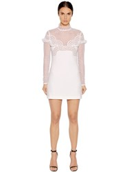 Self Portrait Dot Mesh Lace And Crepe Mini Dress