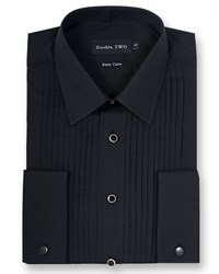 Double Two Men's Classic Collar Stitch Pleat Dress Shirt Black