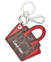 Calvin Klein Mini Purse Key Chain Brown Khaki Red