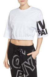 Ivy Park Women's Logo Gathered Hem Crop Tee White