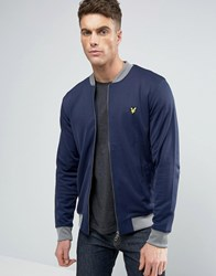 Lyle And Scott Tricot Bomber Eagle Logo Contrast Rib In Navy Navy