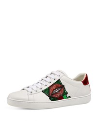 Gucci New Ace Lips Low Top Sneaker White