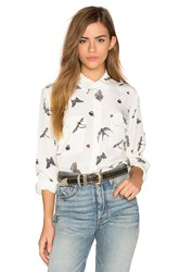 Equipment Signature Bird Print Button Up White