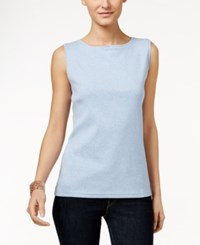 Karen Scott Petite Boat Neck Tank Top Only At Macy's Light Blue Heather