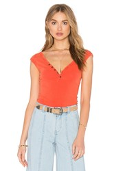 Free People Peaches Henley Tee Orange