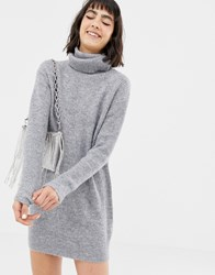 Mango Roll Neck Jumper Dress In Grey