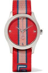 Gucci Striped Canvas And Stainless Steel Watch Tomato Red Gbp