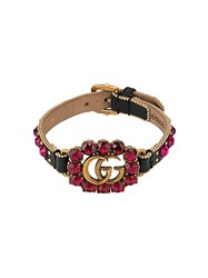 Gucci Leather Bracelet With Double G Black