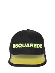 Dsquared Logo Embroidered Cotton Baseball Cap Black Yellow
