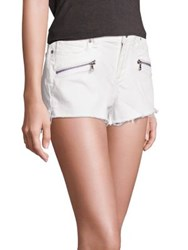 Paige Zippered Cut Off Shorts Optic White