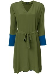 Paul Smith Ps By V Neck Flared Dress Green