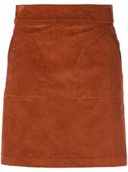 A.P.C. Suede Mini Skirt Brown