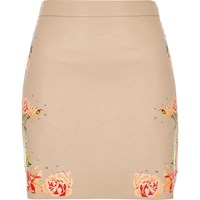 River Island Womens Blush Pink Faux Leather Floral Mini Skirt