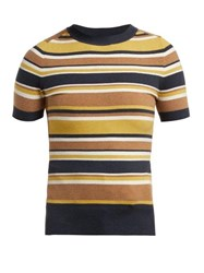 Joostricot Striped Short Sleeved Cotton Blend Sweater Brown Multi