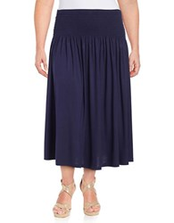 Lord And Taylor Plus Smocked Waist Convertible Skirt Blue
