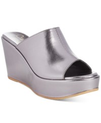 Callisto Maeve Platform Wedge Sandals Women's Shoes Pewter