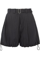 J.W.Anderson Jw Anderson Striped Belted Wool Blend Shorts Navy
