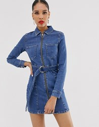 Bershka Denim Shirt Dress In Blue Blue
