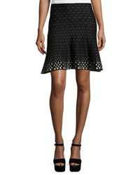 Max Studio Diamond Print A Line Knit Skirt Black
