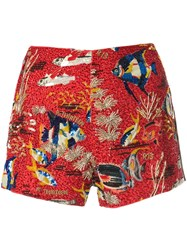 R 13 R13 Contrast Pattern Short Shorts Multicolour