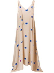 Natasha Zinko Floral Maxi Slip Dress Nude And Neutrals
