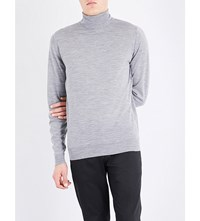 John Smedley Richards Turtleneck Wool Jumper Silver