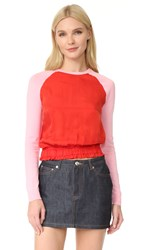 Carven Long Sleeve Sweater Red Pink