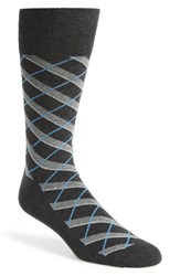 Men's Nordstrom Men's Shop 'Cushion Foot' Diamond Plaid Socks Grey 3 For 30 Charcoal Heather