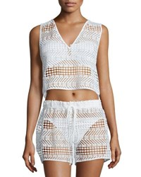 Milly Crocheted V Neck Coverup Top White